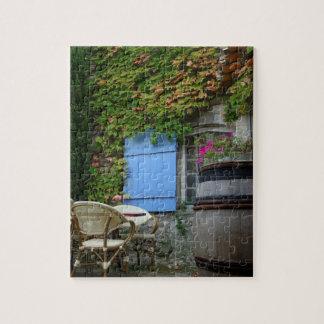 France, Les Baux de Provence, café patio Jigsaw Puzzle