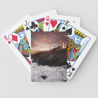 France, lighthouse at dawn bicycle playing cards