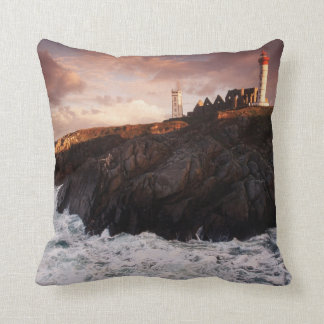 France, lighthouse at dawn cushion