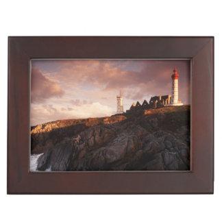 France, lighthouse at dawn keepsake box