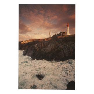 France, lighthouse at dawn wood print