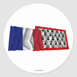France & Limousin waving flags Round Sticker