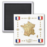 France Map + Flags Magnet