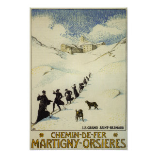 France - Monks Skiing Poster