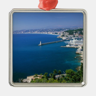 France, Nice, aerial view of the port Christmas Ornament