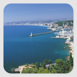 France, Nice, aerial view of the port Square Sticker
