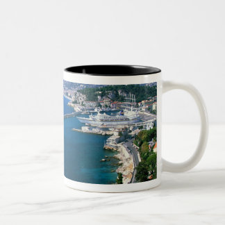 France, Nice, aerial view of the port Two-Tone Coffee Mug