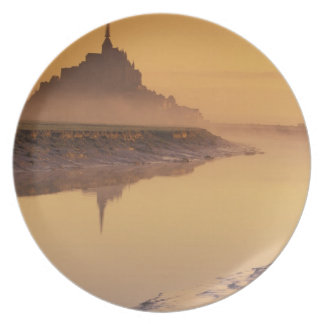 FRANCE, Normandy Mont St. Michel. Morning Light Plate