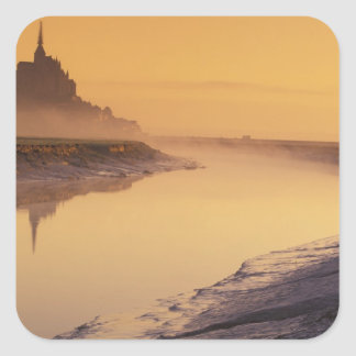 FRANCE, Normandy Mont St. Michel. Morning Light Square Sticker
