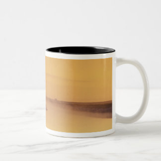 FRANCE, Normandy Mont St. Michel. Morning Light Two-Tone Coffee Mug
