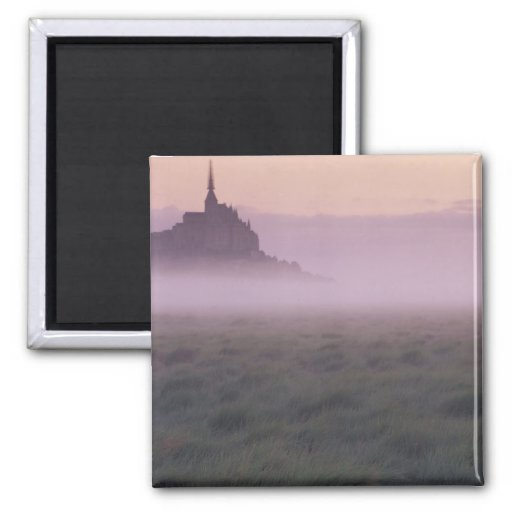 FRANCE, Normandy Mont St. Michel. Morning Mist Fridge Magnets