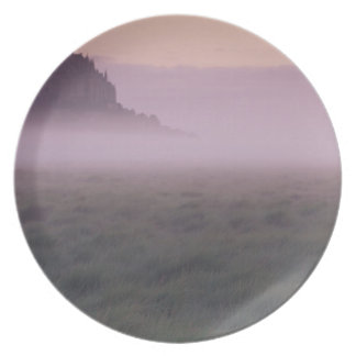 FRANCE, Normandy Mont St. Michel. Morning Mist Plate