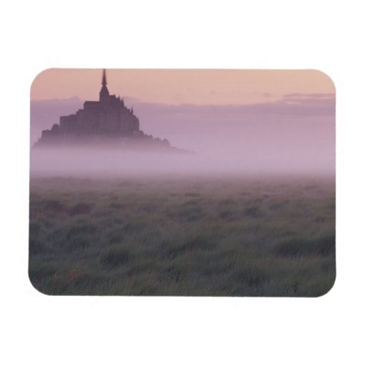 FRANCE, Normandy Mont St. Michel. Morning Mist Rectangle Magnets