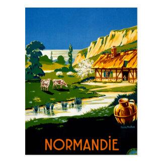 France Normandy Vintage Travel Poster Restored Postcard