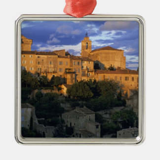 France, PACA, Vaucluse, The village in sunset Silver-Colored Square Decoration
