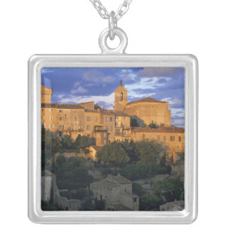 France, PACA, Vaucluse, The village in sunset Silver Plated Necklace