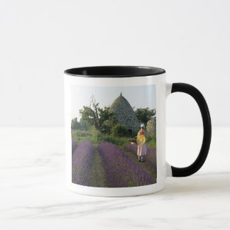 France, PACA, Vaucluse, Woman in a lavender Mug