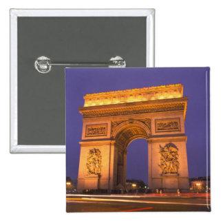 France, Paris, Arc de Triomphe at dusk. 15 Cm Square Badge