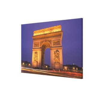 France, Paris, Arc de Triomphe at dusk. Gallery Wrapped Canvas