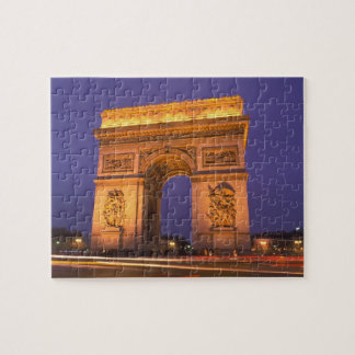 France, Paris, Arc de Triomphe at dusk. Jigsaw Puzzle
