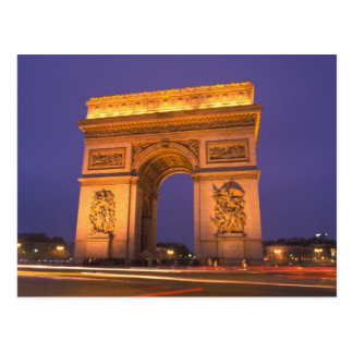 France, Paris, Arc de Triomphe at dusk. Postcard