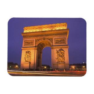 France, Paris, Arc de Triomphe at dusk. Rectangular Photo Magnet