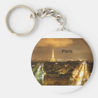 France Paris at night Eiffel Tower (by St.K) Key Ring