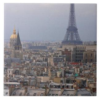 France, Paris, cityscape with Eiffel Tower Large Square Tile