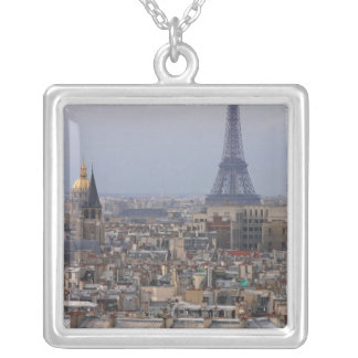 France, Paris, cityscape with Eiffel Tower Silver Plated Necklace
