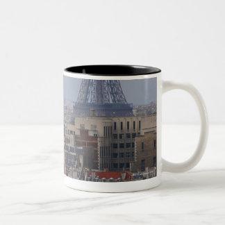 France, Paris, cityscape with Eiffel Tower Two-Tone Coffee Mug