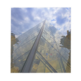France, Paris. Clouds reflect off the Louvre Notepad