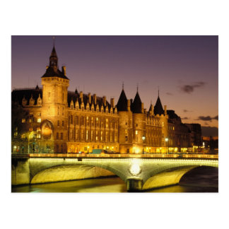 France, Paris, Conciergerie and river Seine at Postcard