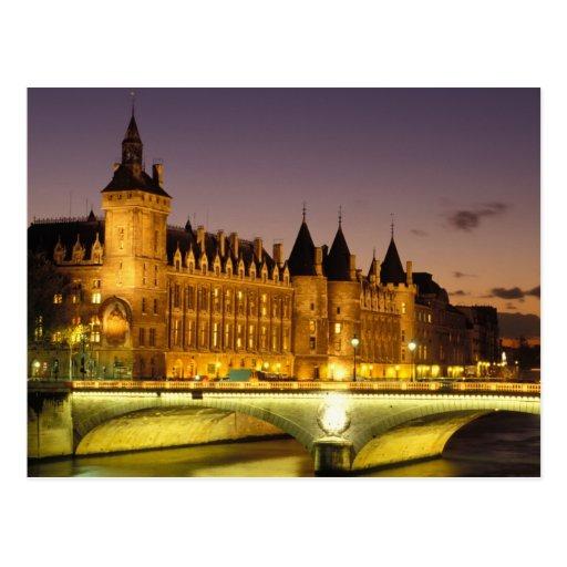 France, Paris, Conciergerie and river Seine at Postcard