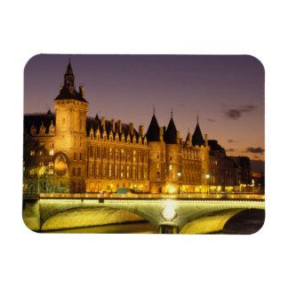 France, Paris, Conciergerie and river Seine at Rectangular Photo Magnet