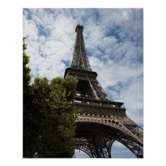 France, Paris, Eiffel Tower and tree, low angle Poster
