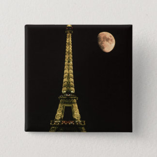 France, Paris. Eiffel Tower at night with 15 Cm Square Badge