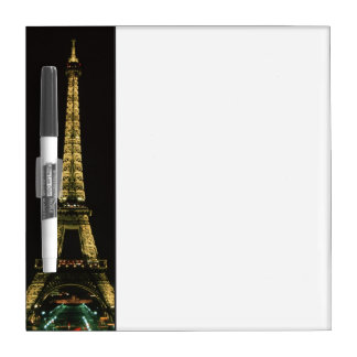 France, Paris. Eiffel Tower at night with Dry-Erase Boards