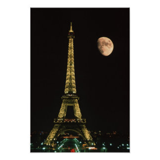 France, Paris. Eiffel Tower at night with Poster