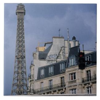 France, Paris, Eiffel Tower behind metro train Large Square Tile