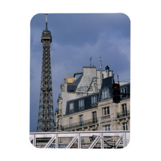 France, Paris, Eiffel Tower behind metro train Rectangular Photo Magnet