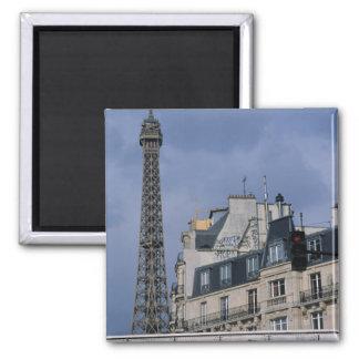 France, Paris, Eiffel Tower behind metro train Square Magnet