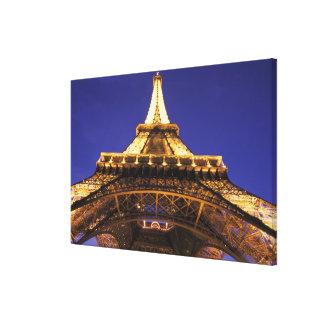 FRANCE, Paris Eiffel Tower, evening view Stretched Canvas Print