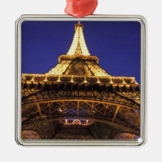FRANCE, Paris Eiffel Tower, evening view Silver-Colored Square Decoration