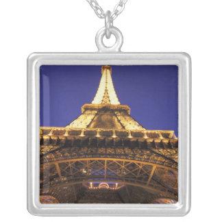 FRANCE, Paris Eiffel Tower, evening view Square Pendant Necklace