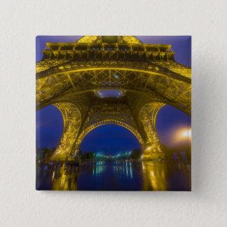 France, Paris. Eiffel Tower illuminated at 15 Cm Square Badge