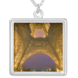 France, Paris. Eiffel Tower illuminated at 2 Silver Plated Necklace