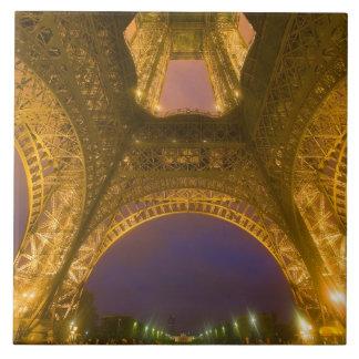 France, Paris. Eiffel Tower illuminated at 2 Tile