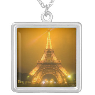 France, Paris. Eiffel Tower illuminated at 3 Silver Plated Necklace