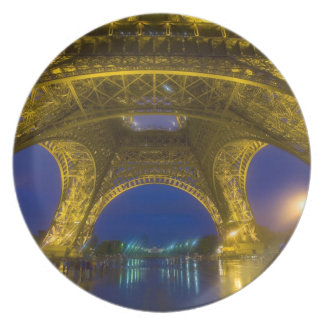 France, Paris. Eiffel Tower illuminated at Plate
