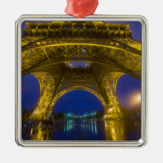 France, Paris. Eiffel Tower illuminated at Silver-Colored Square Decoration